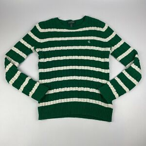 Lauren by Ralph Lauren LRL Womens Small Green Striped Cable Knit Sweater V Neck $19.99