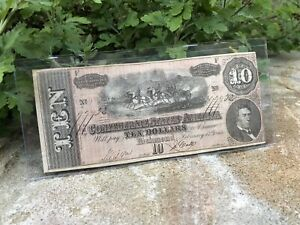 1864 $10 Ten Dollars Confederate States Of America Currency Note Richmond