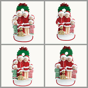 PERSONALIZED Christmas Ornament Pajama Family with Dog of 3 4 5 6 Holiday Gift $16.95