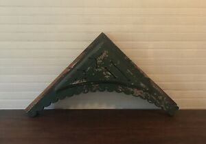 2 Antique Wood Corbel Victorian Gingerbread Architectural Salvage Chippy Green $89.99