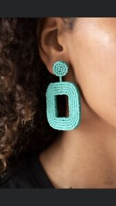 New Rel PAPARAZZI Jewelry BLUE TURQUOISE SEED BEAD EARRINGS Square Hoops POSTS $12.99