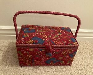 SEWING BASKET BOX VTG NOTIONS HAPPY HOME NEEDLE BOOK NEEDLEPOINT BAG $25.00