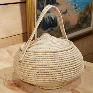 Handmade Basket Coil Tightly Woven With Lid amp; Handle People#x27;s Republic of China $42.99