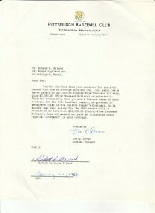 1960 SIGNED CONTRACT EXT JOE BROWN BOB FRIEND FORBES FIELD PITTSBURGH PIRATES $195.00