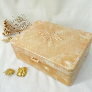 Vintage 50's 60's Hommer Pink Marble Plastic Jewelry Box Sewing Organizer Case $28.00
