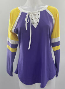 Womens Sport Shirt Long Sleeve Crew Neck Lace Up Size Large Yellow Purple New $20.99