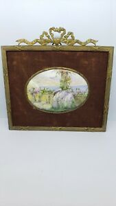 Antique Signed Miniature Painting Enamel on Copper with Bronze Frame $182.99