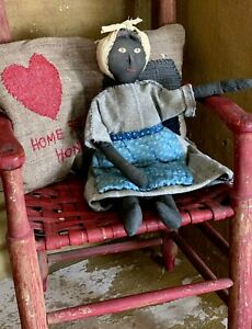 So Primitive Doll In Clothes from Early Wool Blanket Blue Calico Sheep Wool Hair $85.00