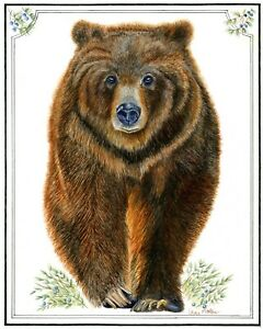 Original watercolor painting Yellowstone Grizzly Bear $150.00