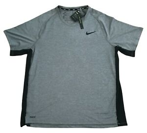 Nike Mens Dry Fit Shirt Short Sleeve Slim Fit Gray and Black Size XXL NWT $15.00