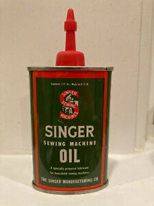 VINTAGE SINGER SEWING MACHINE OIL CAN GREEN amp; RED W PLASTIC SPOUT NEARLY FULL $22.00