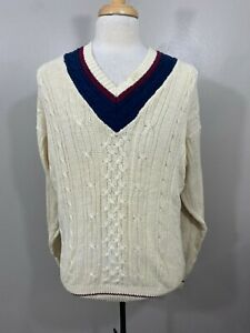 Puritan Mens Cream Solid V Neck Long Sleeve Knit Pullover Sweater Size Large $21.99