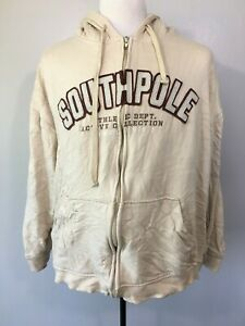 South Pole Mens Cream Solid Regular Fit Long Sleeve Full Zip Hoodie Size XL $22.99