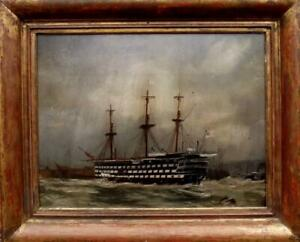 Antique Moonlight Seascape Oil Painting HMS VICTORY in Harbour 19th Century GBP 750.00