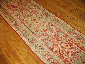 Antique Unique Turkish Oushak Ushak Rug Runner Size 2'9''x13'