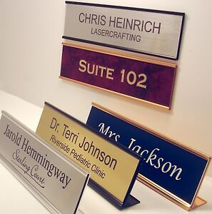 NAME PLATE for office desk or door sign plaque personalized by Lasercrafting