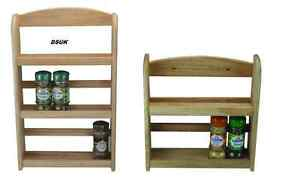 NEW 2 OR 3 TIER SPICE RACK WALL MOUNTED FREE STANDING NATURAL HEVEA BEEC WOOD...