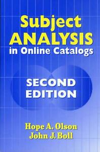 Subject Analysis in Online Catalogs by Hope A. Olson (English) Paperback Book Fr