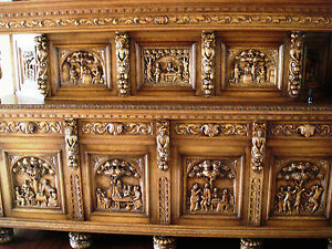 Elizabethan Solid Wood Antique Heavily Carved Buffet  Sideboard  Cabinet