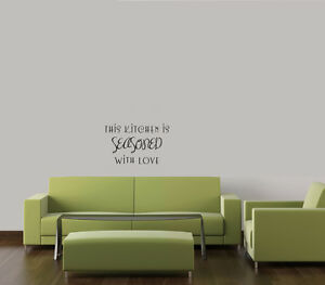 THIS KITCHEN IS SEASONED WITH LOVE VINYL WALL DECAL WORDS HOME DECOR LETTERING