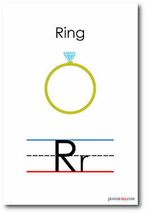 NEW LANGUAGE ARTS POSTER The Letter R Ring Spelling Alphabet POSTER