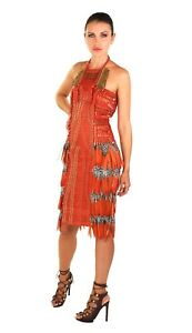 $17000 NEW AMAZING GUCCI EMBROIDERED ORANGE DRESS WITH FEATHERS 38 - 2