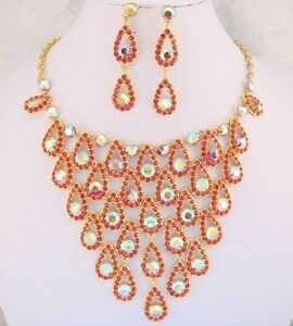 18K GOLD P VINTAGE STYLE RED & AB CRYSTAL BIB ADJUST TO CHOKER NECKLACE SET-FIOJ
