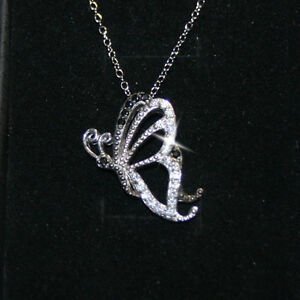 Black Diamond Alternatives Butterfly Pendant Necklace 14k White Gold over 925 SS