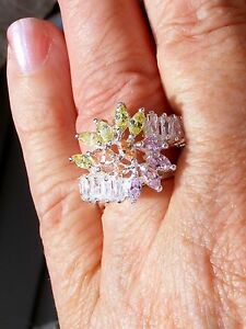 NEW gt; Sz. 8.25 STERLING TOPAZ STONES quot;PRINCESSquot; ring MARKED INSIDE NWOT