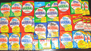 Huge Lot of 75 Unopened Old Vintage Topps Baseball Cards in 5 Wax Rack Packs