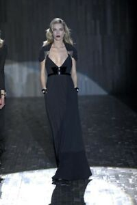 NEW GUCCI BLACK LONG BELTED DRESS GOWN WITH CRYSTAL EMBROIDERY  42