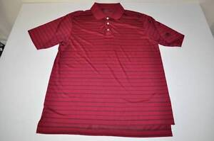 ADIDAS GOLF RED BURGUNDY BLACK STRIPED DRY FIT POLO SHIRT MENS SIZE LARGE L
