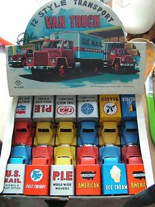 box dealer set 12 van truck tin toy jouet