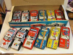 dealer box set 12 car tin toy jouet tole 60