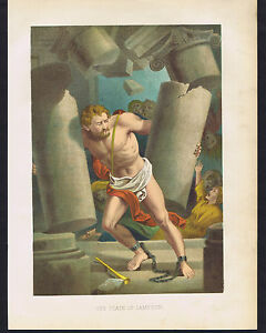 The Death of Samson - 1870 Biblical Chromolithograph  $13.99