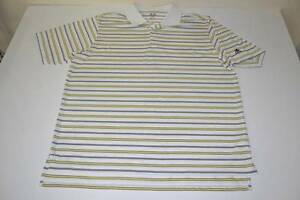 ADIDAS GOLF DRY FIT WHITE YELLOW STRIPED POLO SHIRT MENS SIZE XL