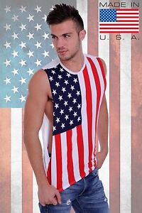 Mens Open Side Sleeveless Shirt USA Flag Red White Blue American Pride Tank Top $9.99