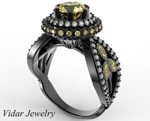2.2Ct Flower Shape Fancy Yellow Diamond Engagement Ring – Unique Ring Design