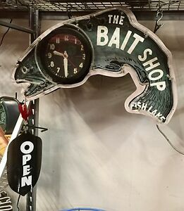 "BAIT SHOP NEON CLOCK DISPLAY + FISHING ""OPEN"" LURE SIGN"
