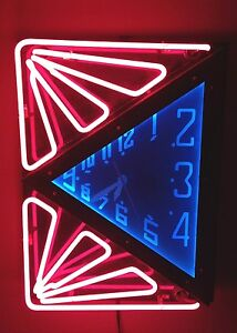 ART DECO NEON CLOCK LARGE & BEAUTIFUL DESIGN!  WOW!