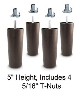 5quot; Universal Dark Brown Plastic Legs Sofa Couch Chair 5 16quot; Set of 4 w T Nuts