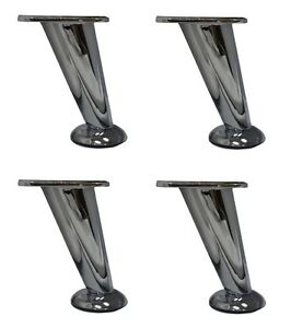 5quot; Slanted Metal Chrome Modern Furniture Sofa Table Chair Legs Set of 4 $39.95