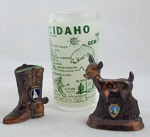 Vintage Idaho Travel Souviner Lot Glass Tumbler Brass Boot Deer Lot Idaho