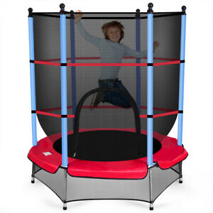 "Youth Jumping Round Trampoline 55"" Exercise W Safety Pad Enclosure Combo Kids"