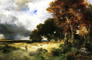 Oil Thomas Moran Autumn Peconic Bay Long Island with walker in landscape 36quot; $69.99