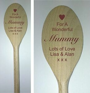 Personalised Engraved Wooden Spoon mummy nanny friends birthday christmas gift