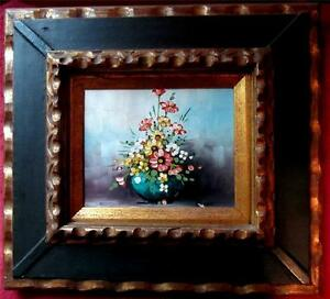 VINTAGE ANTIQUE PAINTING OIL ON CANVAS FLOWERS VASE SIGNED BY CICERI FRAME 18X19 $99.00