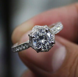 1.45 Ct. Natural Round Cut Floral Milgrain Pave Design Diamond Engagement Ring