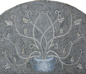Greek Plant of Life Leaves Soft Vines Hand Made Marble Mosaic GEO1964
