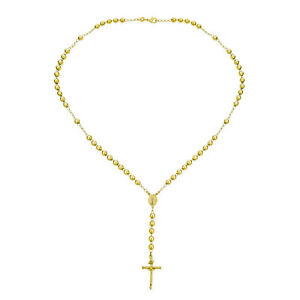 Mens Yellow 18k Gold Plated Brass Cross Beaded Rosary Necklace 24 Inches